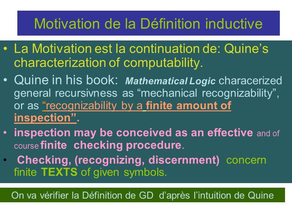 Motivation de la Définition inductive
