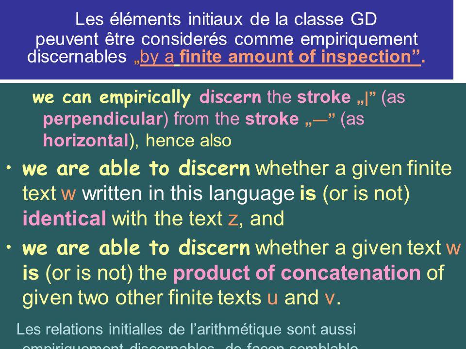 """Les éléments initiaux de la classe GD peuvent être considerés comme empiriquement discernables """"by a finite amount of inspection ."""