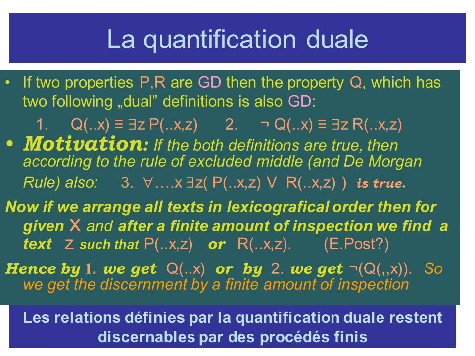 La quantification duale
