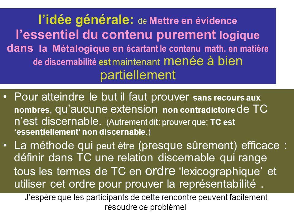 l'idée générale: de Mettre en évidence l'essentiel du contenu purement logique dans la Métalogique en écartant le contenu math. en matière de discernabilité est maintenant menée à bien partiellement