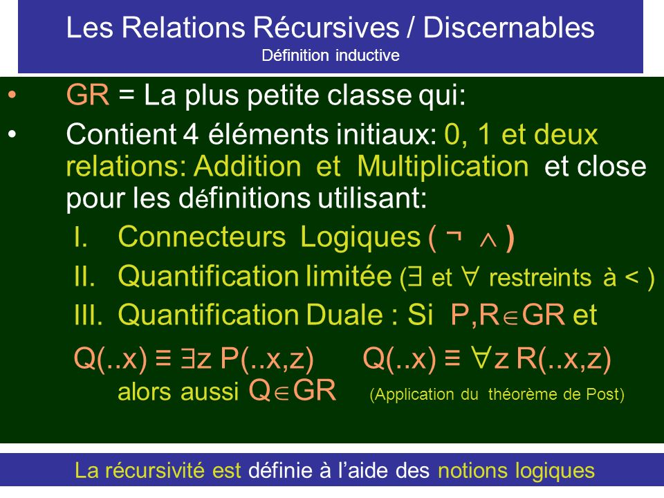 Les Relations Récursives / Discernables Définition inductive