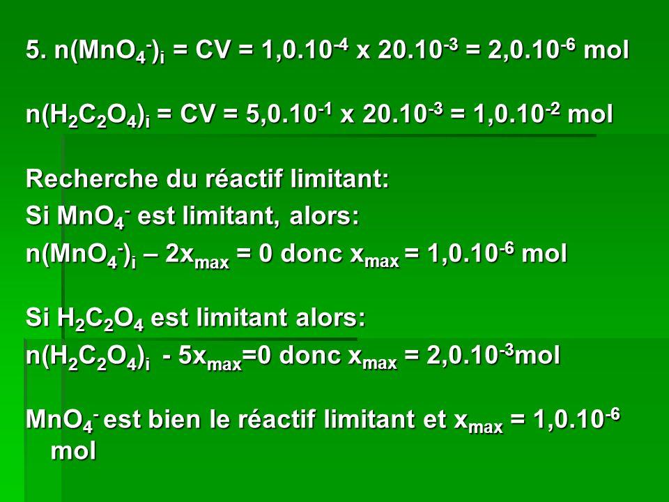 5. n(MnO4-)i = CV = 1,0.10-4 x 20.10-3 = 2,0.10-6 mol