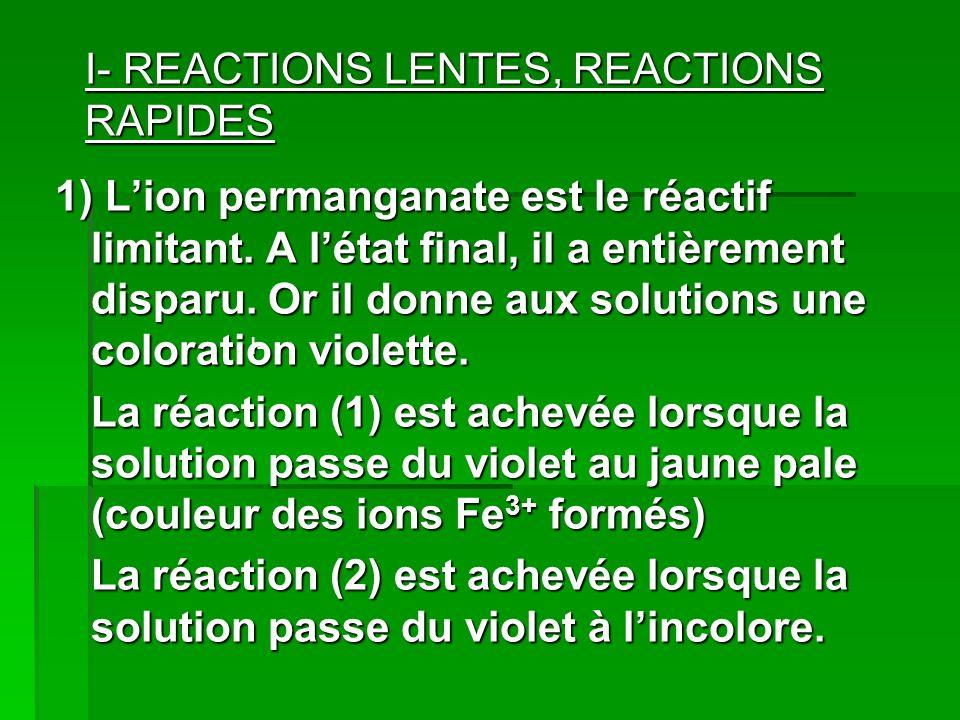 I- REACTIONS LENTES, REACTIONS RAPIDES