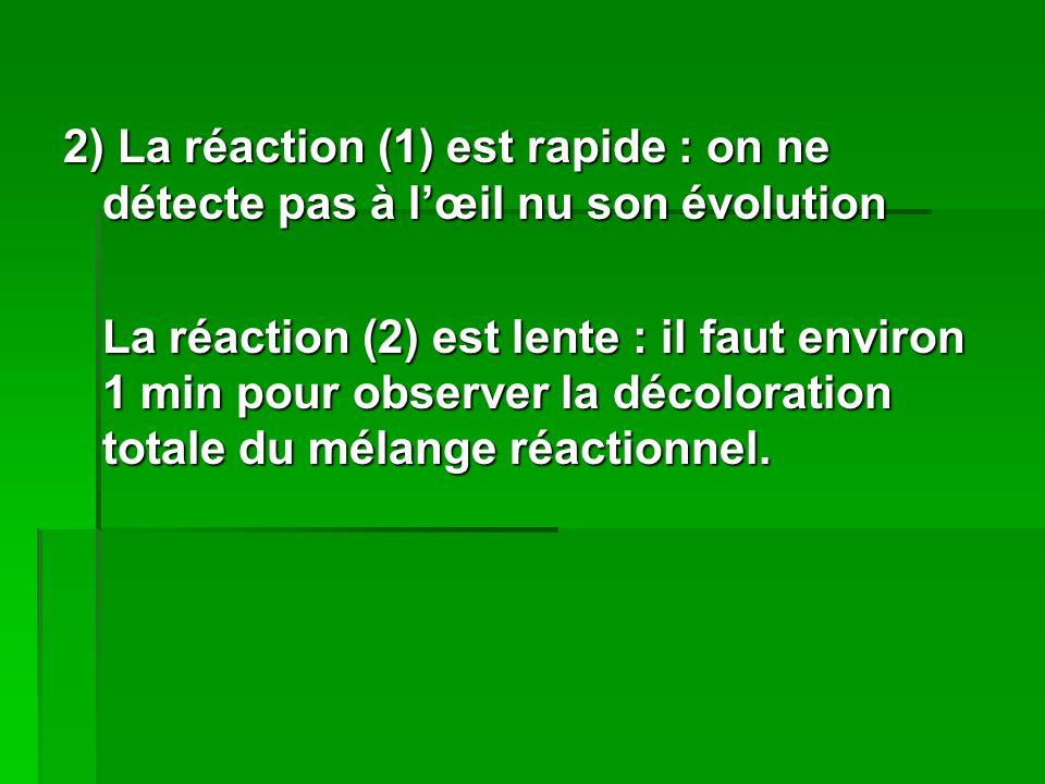 2) La réaction (1) est rapide : on ne détecte pas à l'œil nu son évolution