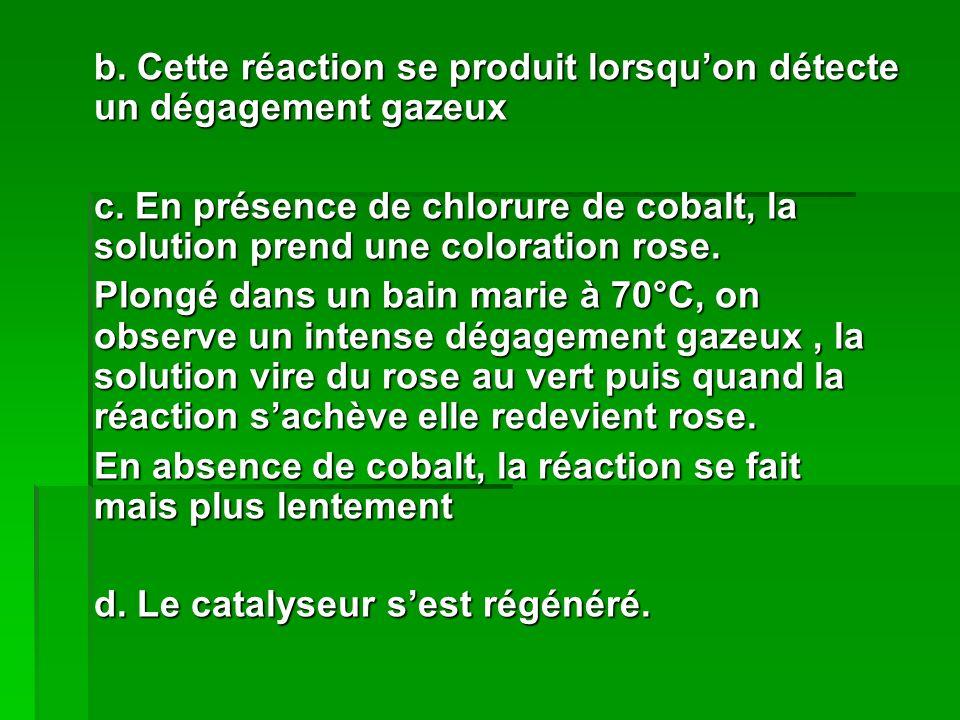 b. Cette réaction se produit lorsqu'on détecte un dégagement gazeux