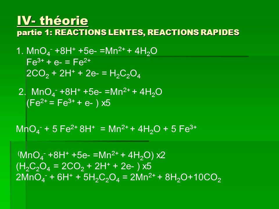 IV- théorie partie 1: REACTIONS LENTES, REACTIONS RAPIDES