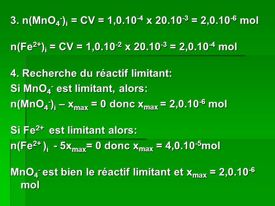 3. n(MnO4-)i = CV = 1,0.10-4 x 20.10-3 = 2,0.10-6 mol