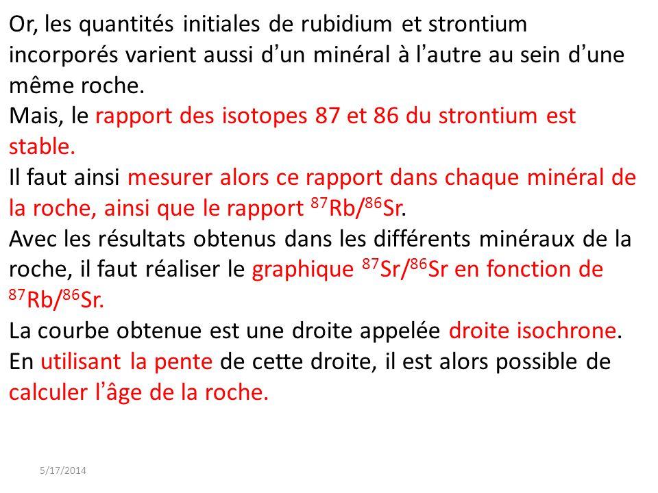 Mais, le rapport des isotopes 87 et 86 du strontium est stable.
