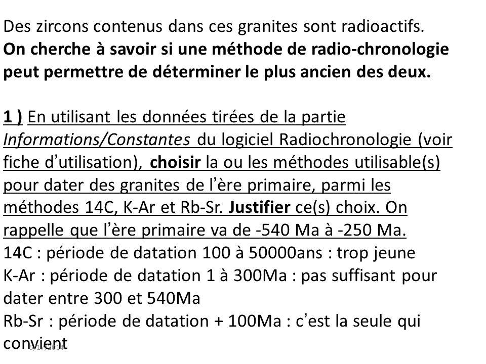 Des zircons contenus dans ces granites sont radioactifs.