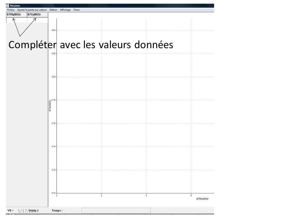 Compléter avec les valeurs données