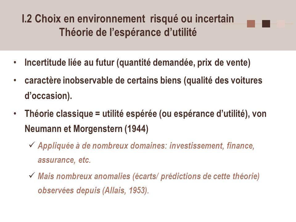 I.2 Choix en environnement risqué ou incertain Théorie de l'espérance d'utilité