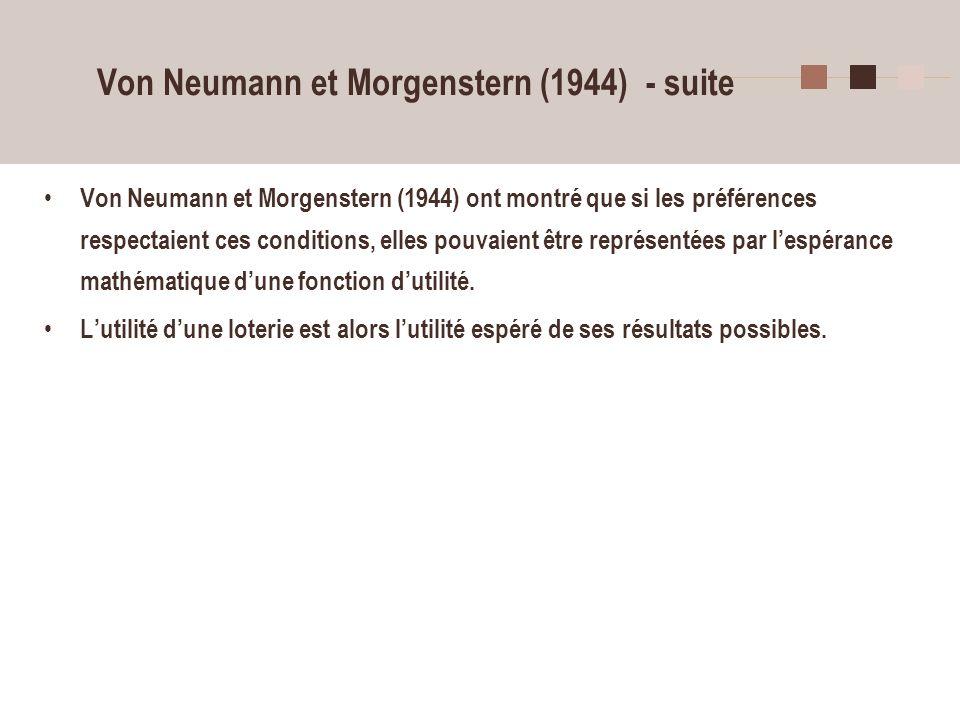 Von Neumann et Morgenstern (1944) - suite