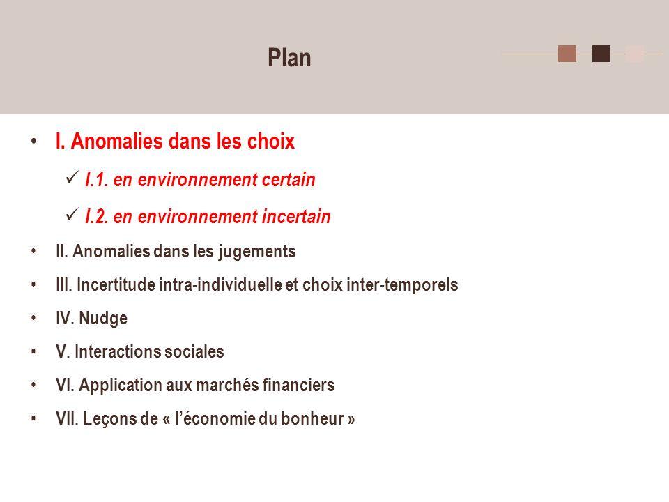 Plan I. Anomalies dans les choix I.1. en environnement certain