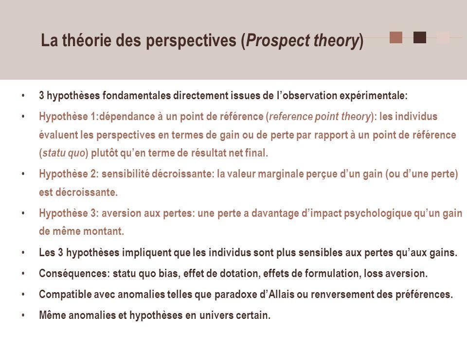 La théorie des perspectives (Prospect theory)