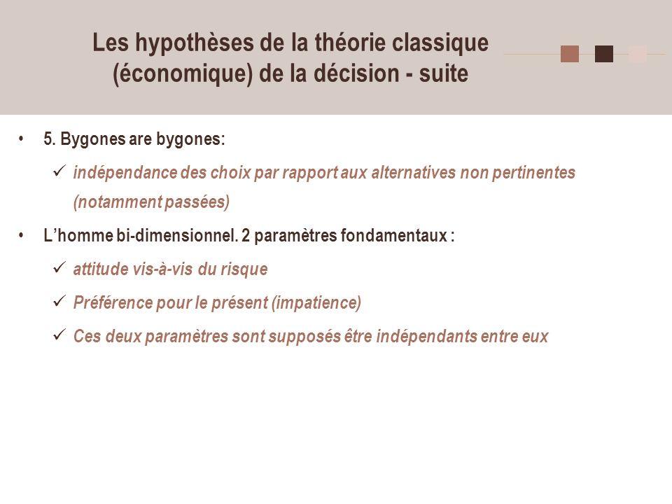 Les hypothèses de la théorie classique (économique) de la décision - suite
