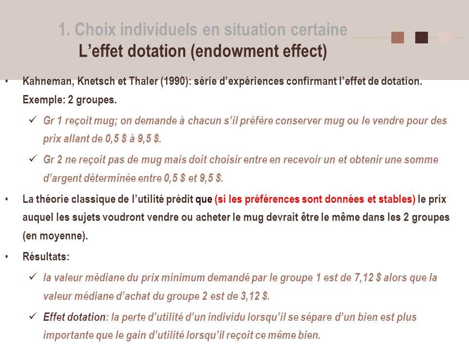 1. Choix individuels en situation certaine L'effet dotation (endowment effect)