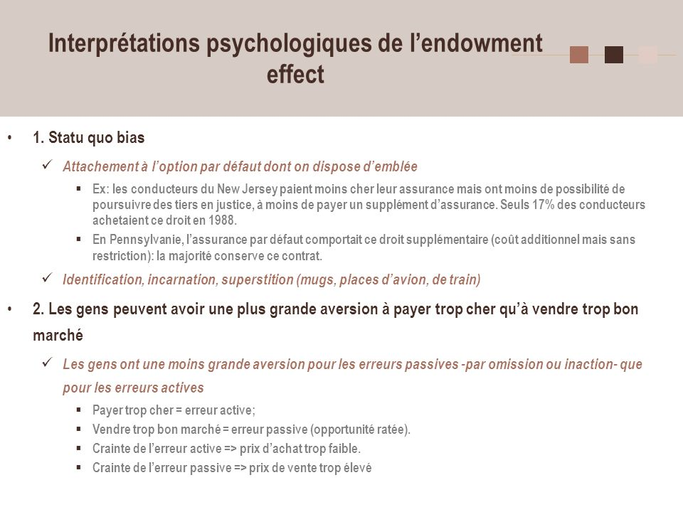Interprétations psychologiques de l'endowment effect