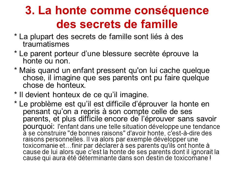 3. La honte comme conséquence des secrets de famille