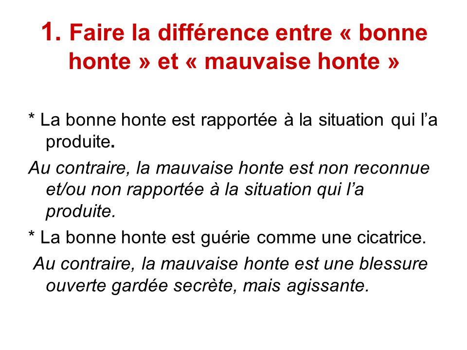 1. Faire la différence entre « bonne honte » et « mauvaise honte »