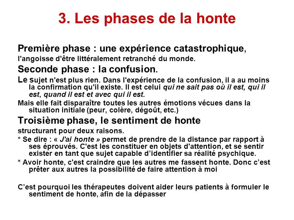 3. Les phases de la honte Première phase : une expérience catastrophique, l angoisse d être littéralement retranché du monde.