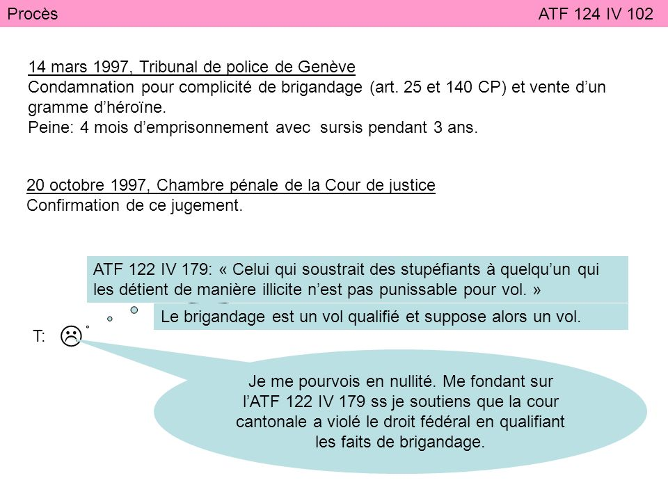  Procès ATF 124 IV 102 14 mars 1997, Tribunal de police de Genève
