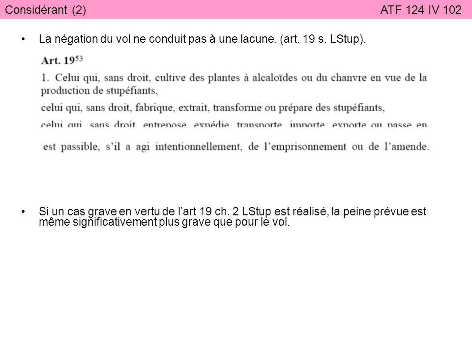 Considérant (2) ATF 124 IV 102 La négation du vol ne conduit pas à une lacune. (art. 19 s. LStup).