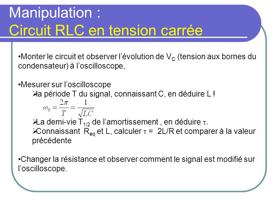Manipulation : Circuit RLC en tension carrée