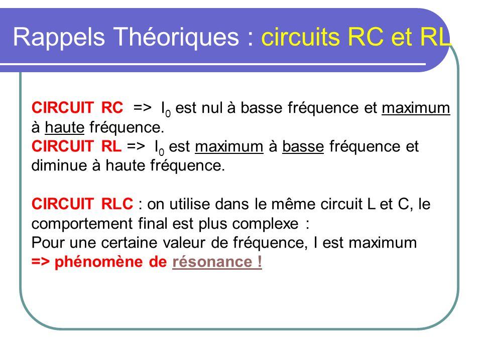 Rappels Théoriques : circuits RC et RL