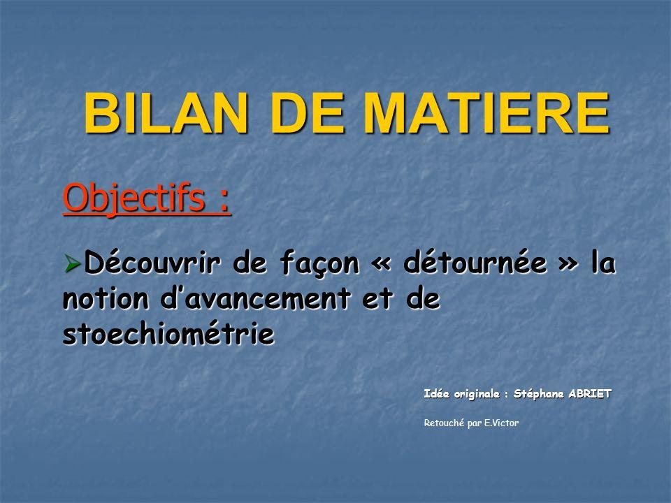 BILAN DE MATIERE Objectifs :
