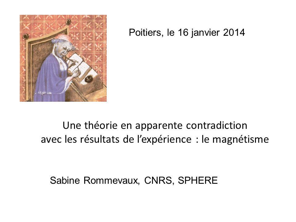 Poitiers, le 16 janvier 2014 Une théorie en apparente contradiction avec les résultats de l'expérience : le magnétisme.