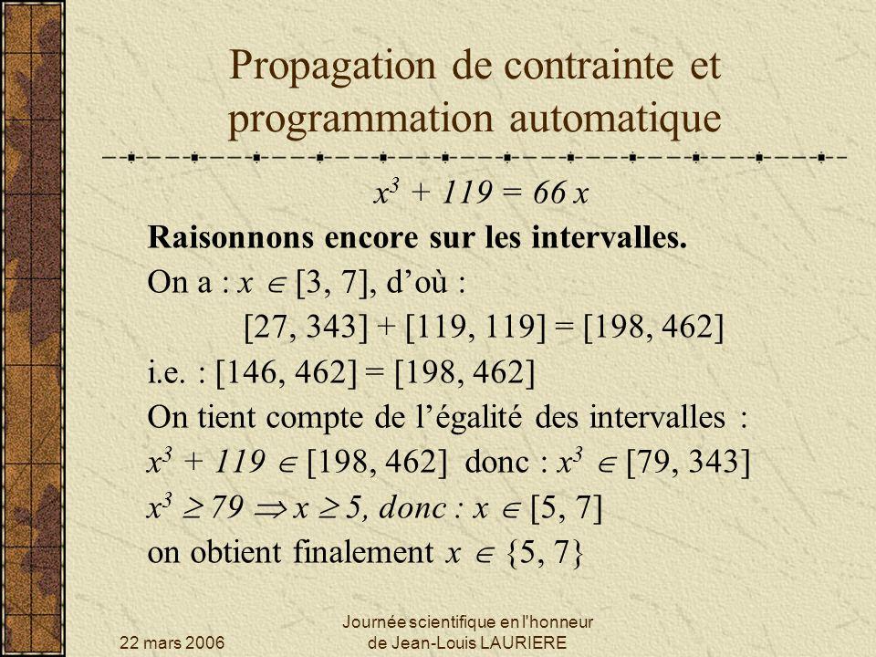 Propagation de contrainte et programmation automatique