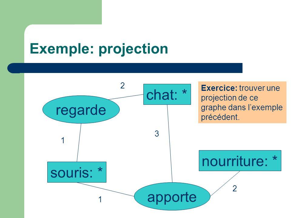 Exemple: projection chat: * regarde nourriture: * souris: * apporte 2