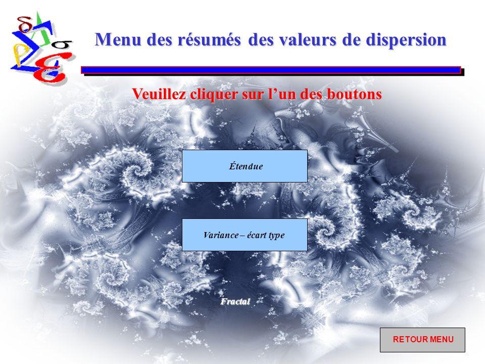 Menu des résumés des valeurs de dispersion