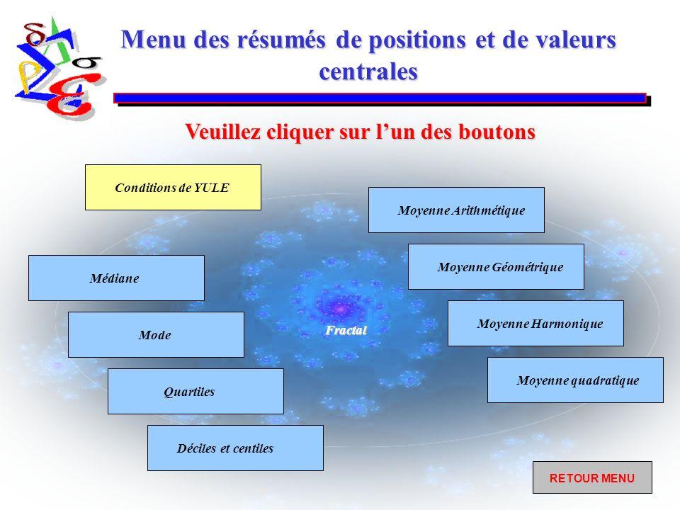 Menu des résumés de positions et de valeurs centrales