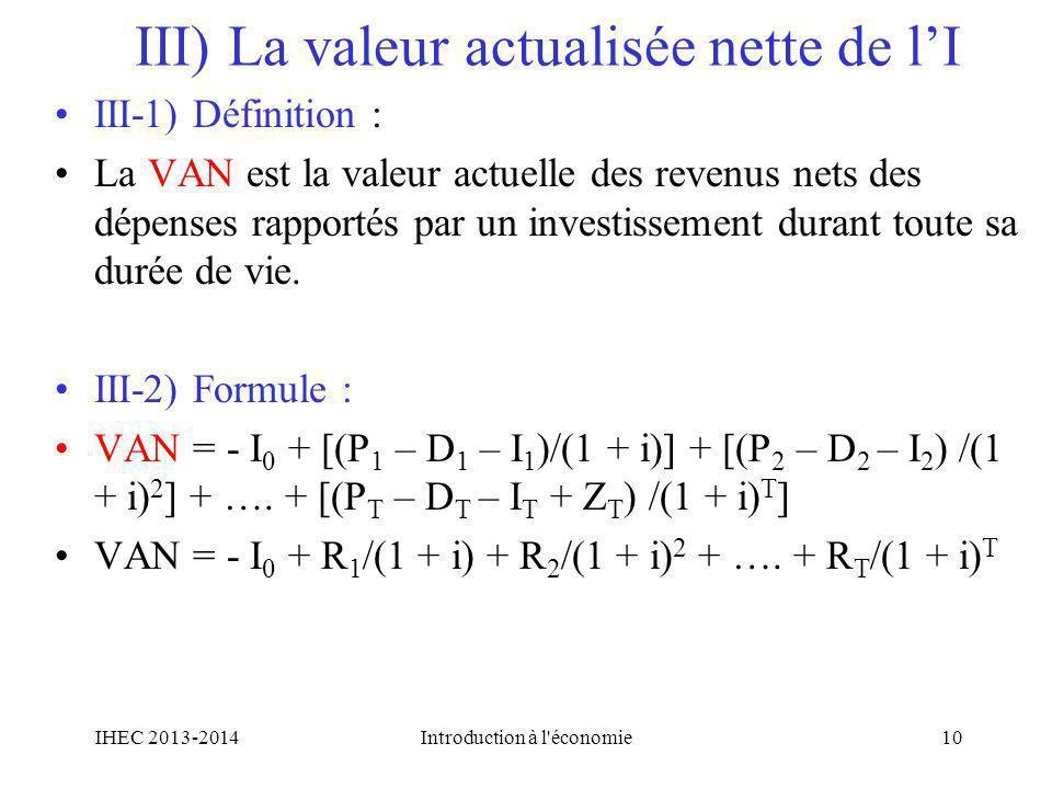 III) La valeur actualisée nette de l'I