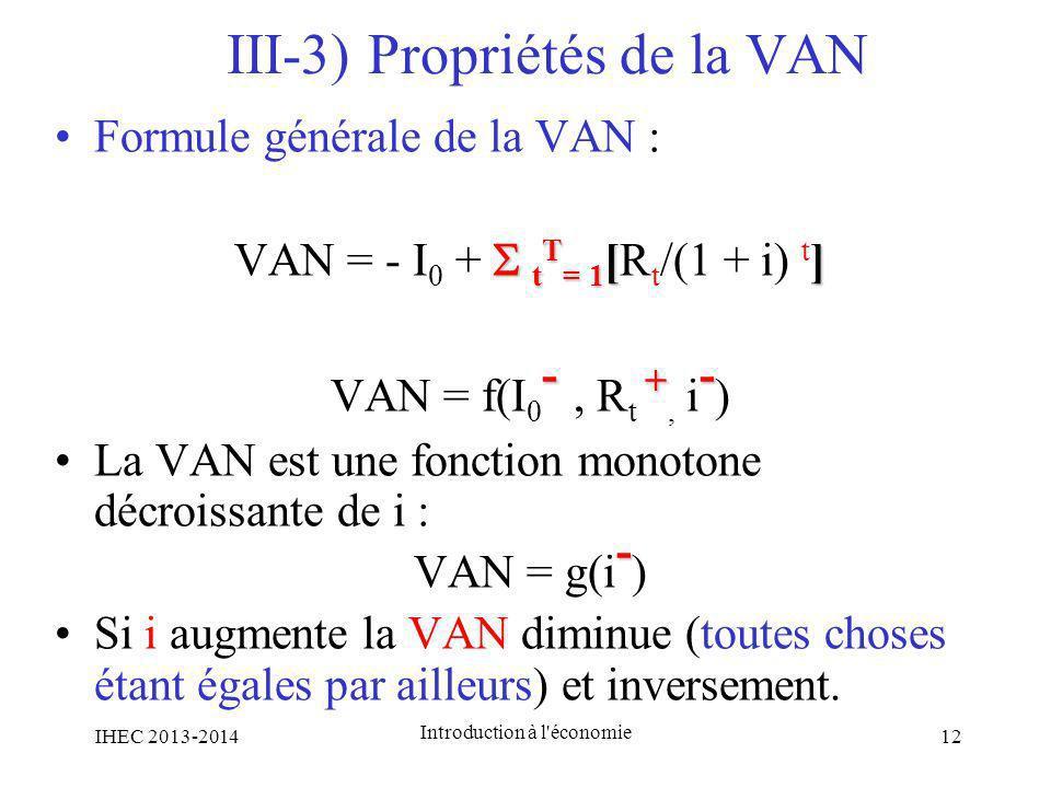 III-3) Propriétés de la VAN