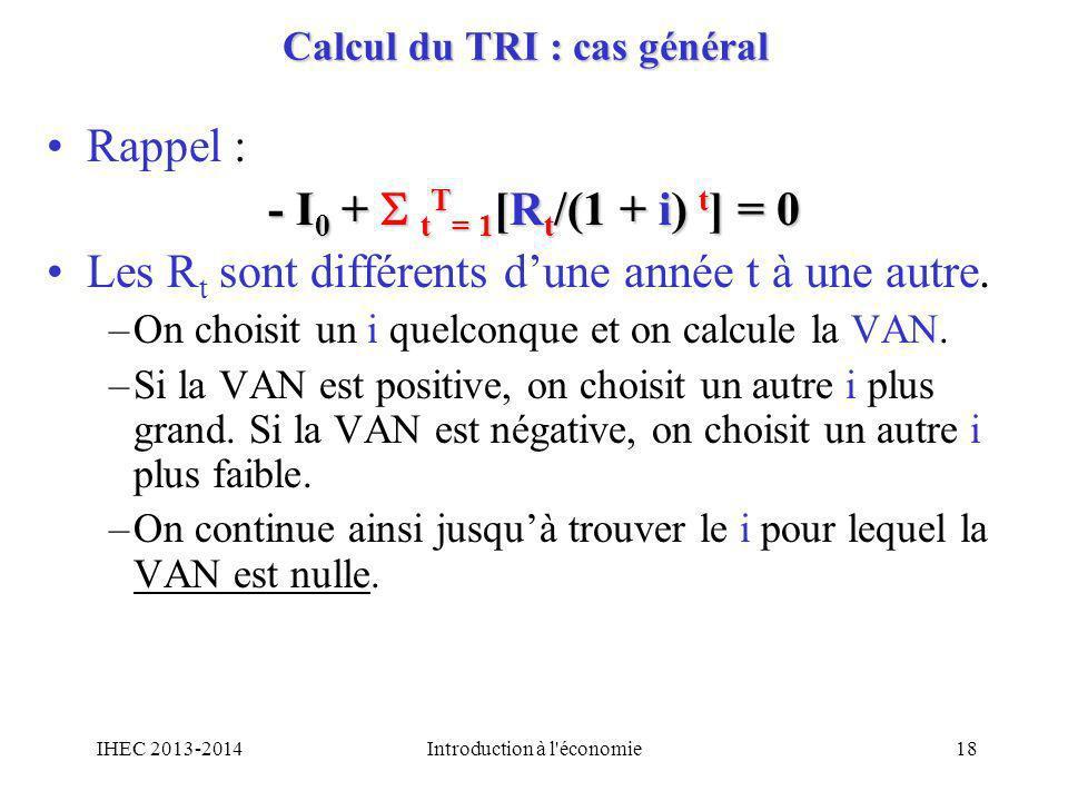 Calcul du TRI : cas général