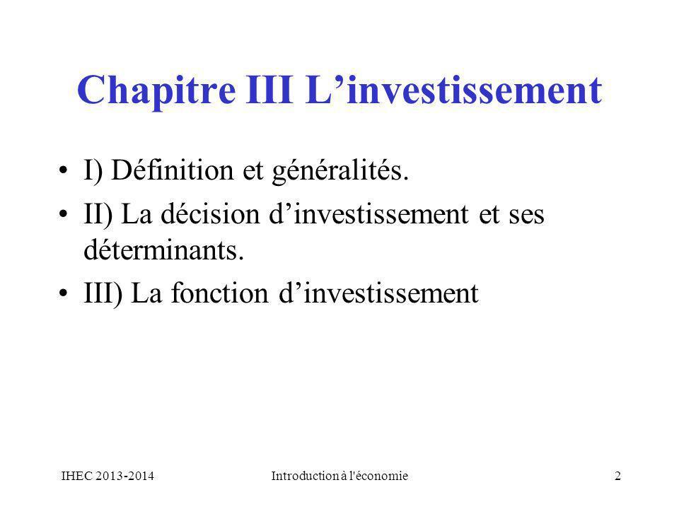 Chapitre III L'investissement