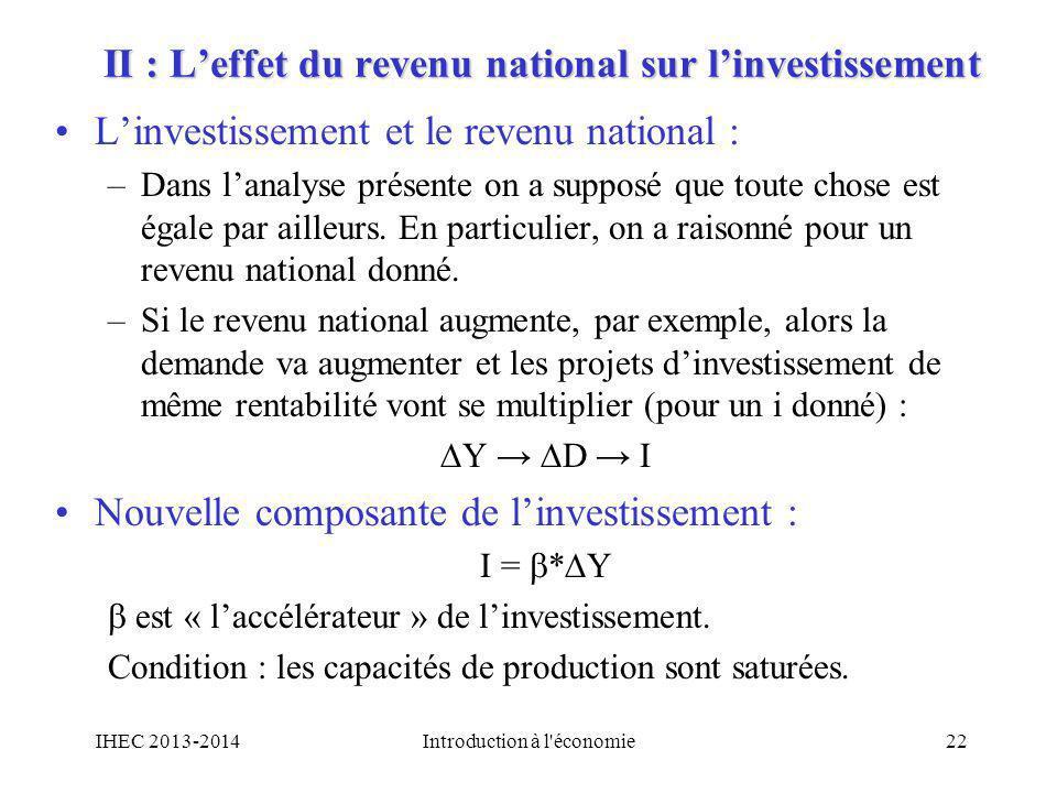 II : L'effet du revenu national sur l'investissement