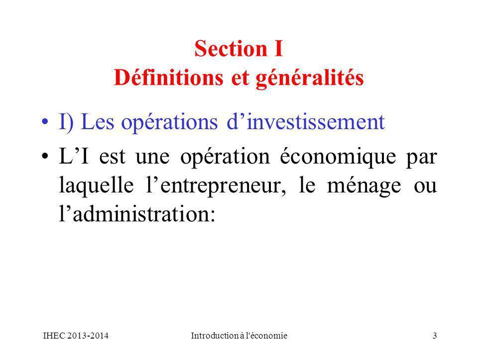 Section I Définitions et généralités