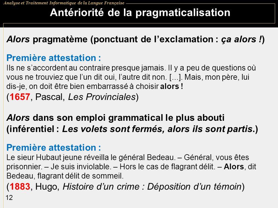 Antériorité de la pragmaticalisation