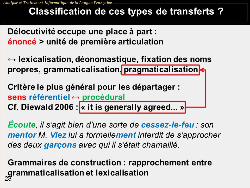 Classification de ces types de transferts
