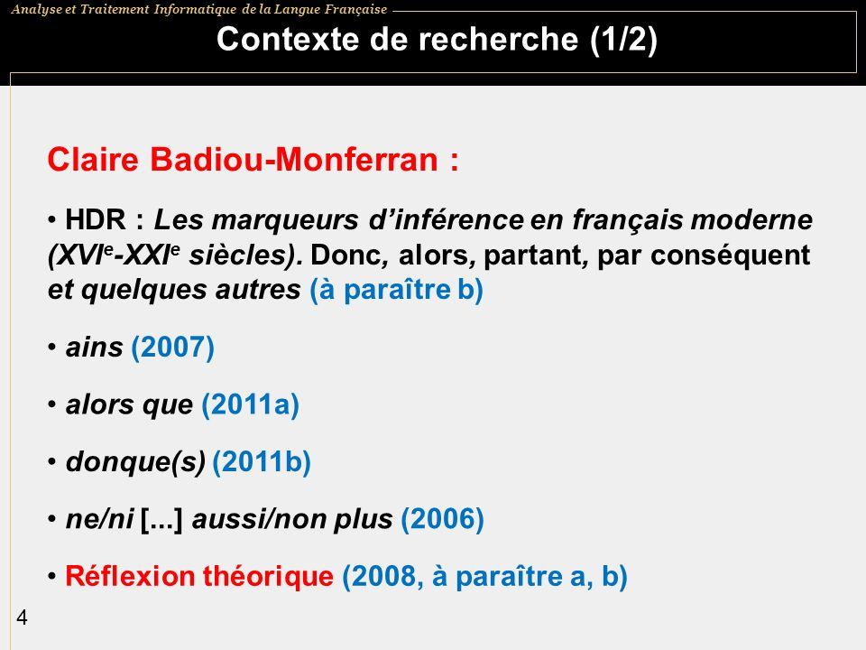 Contexte de recherche (1/2)