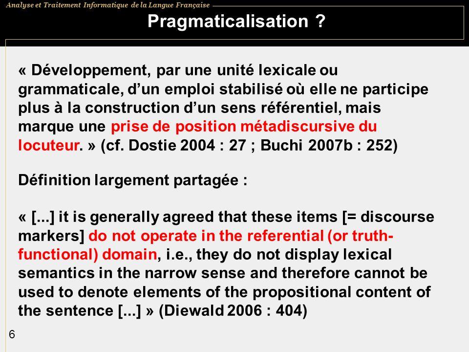 Pragmaticalisation