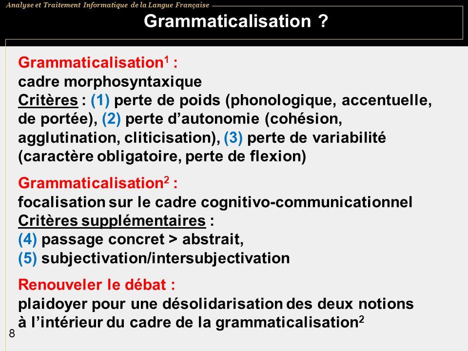 Grammaticalisation Grammaticalisation1 : cadre morphosyntaxique