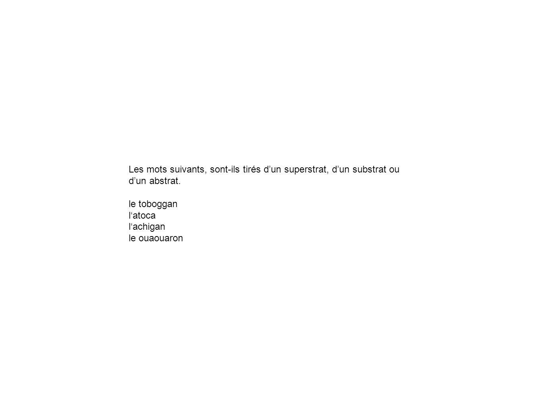 Les mots suivants, sont-ils tirés d'un superstrat, d'un substrat ou d'un abstrat.