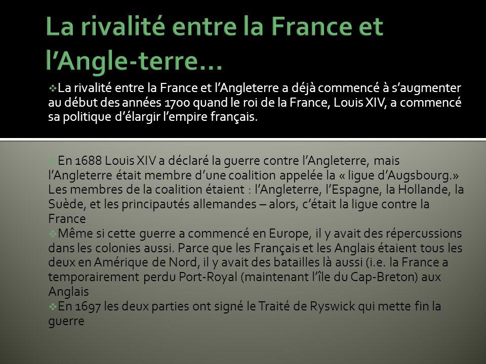 La rivalité entre la France et l'Angle-terre…