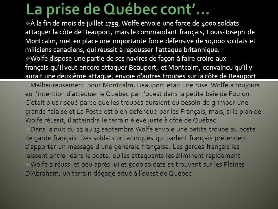 La prise de Québec cont'…
