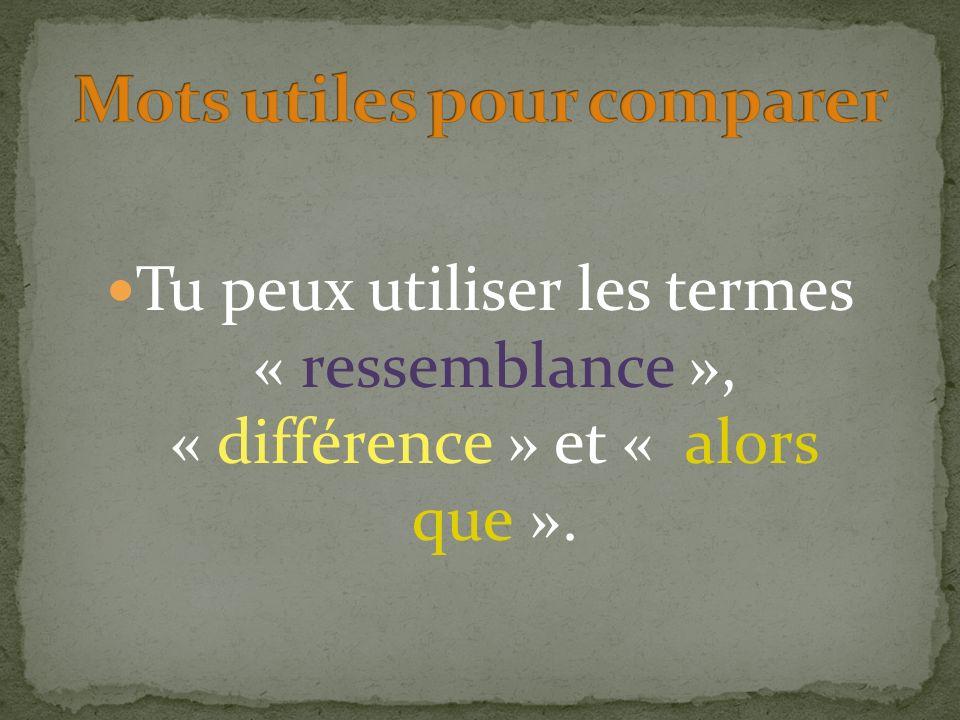 Mots utiles pour comparer