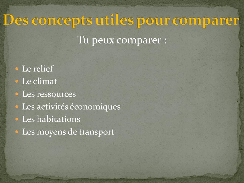 Des concepts utiles pour comparer